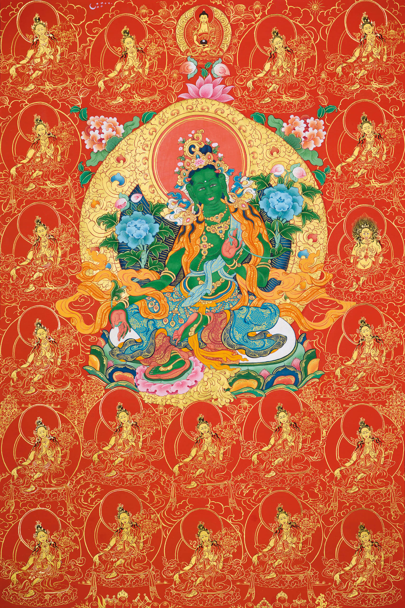 green tara, thangka, buddhist art