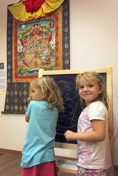 kids with thangka, buddhist art