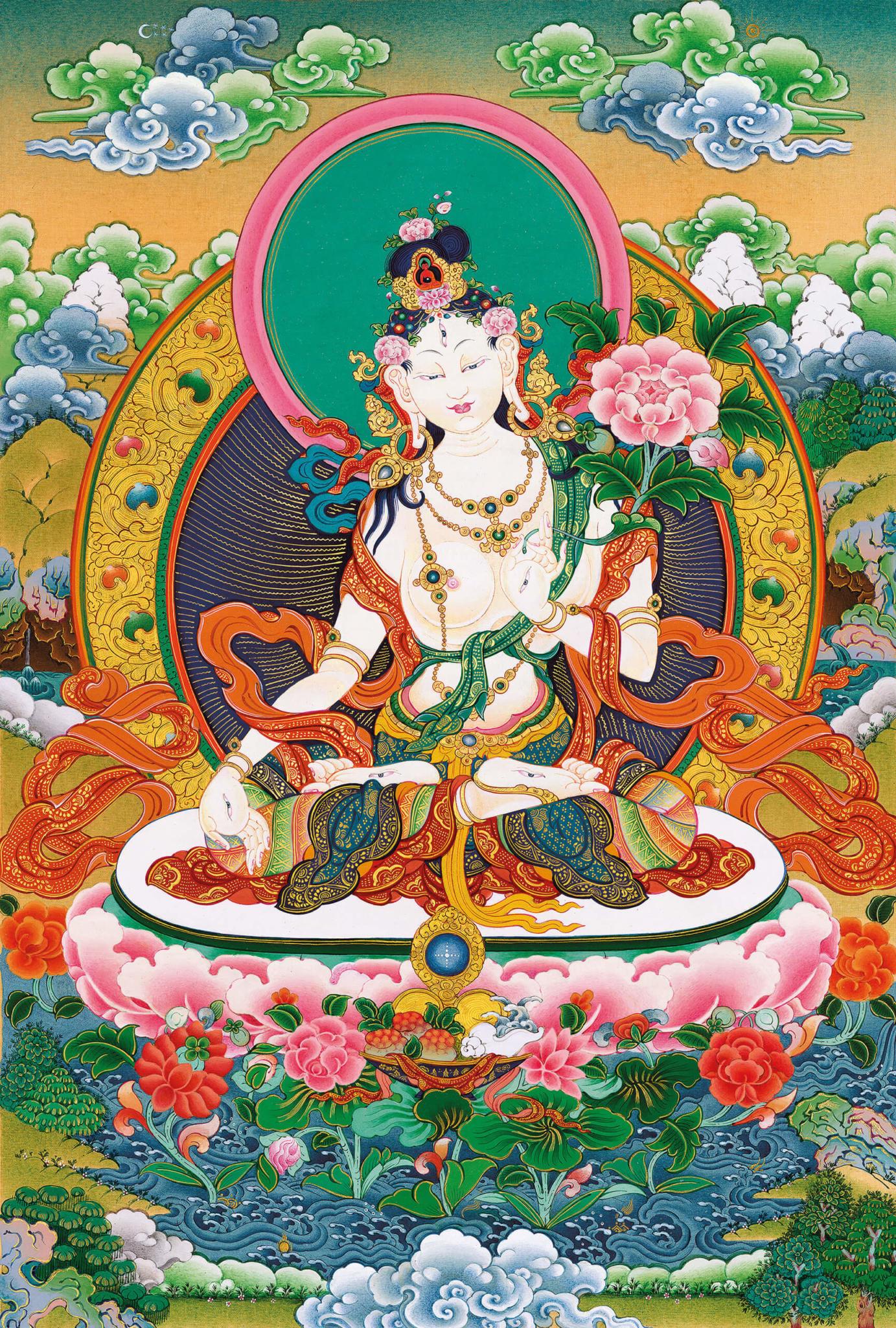 white tara, thangka, buddhist art